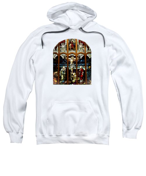 The Crucifixion Of Jesus On Good Friday Stained Glass Window Sweatshirt