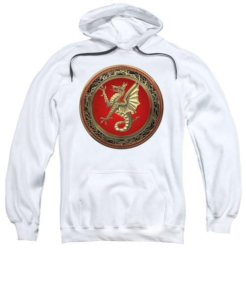 The Great Dragon Spirits - Gold Sea Dragon Over White Leather Sweatshirt