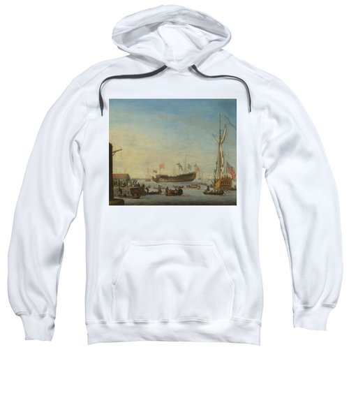 The Launch Of A Man Of War Sweatshirt by Robert Woodcock