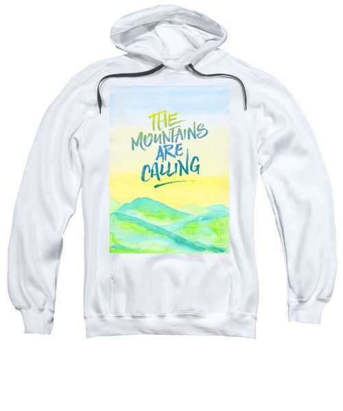 The Mountains Are Calling Yellow Blue Sky Watercolor Painting Sweatshirt