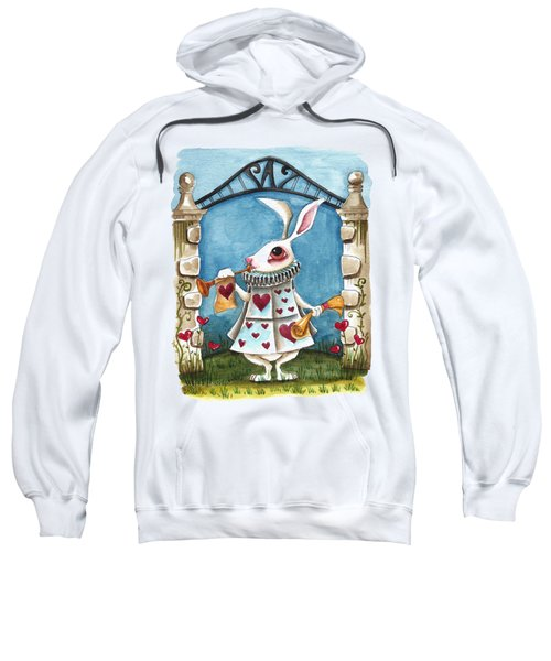 The White Rabbit Announcing Sweatshirt by Lucia Stewart