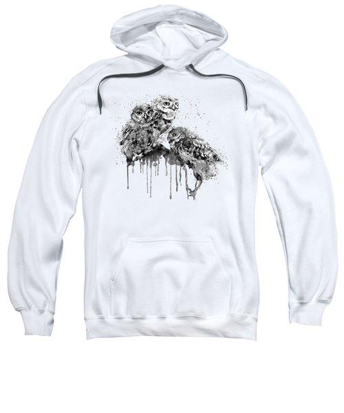 Three Cute Owls Black And White Sweatshirt