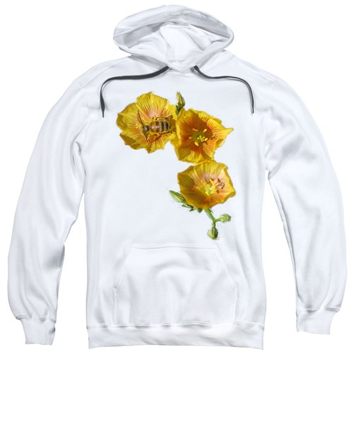 Three Yellow Flowers With A Bee Sweatshirt