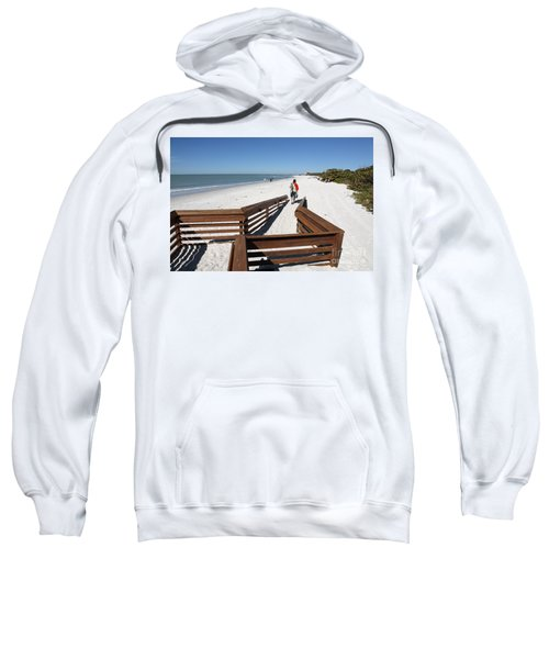 Tide Of Sand Over A Ramp On The Beach In Naples Florida Sweatshirt