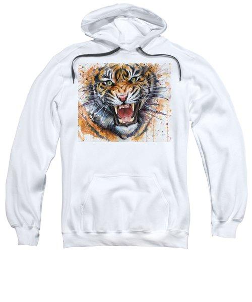 Tiger Watercolor Portrait Sweatshirt by Olga Shvartsur