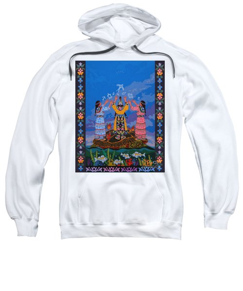 Sweatshirt featuring the painting Together We Over Come Obstacles by Chholing Taha