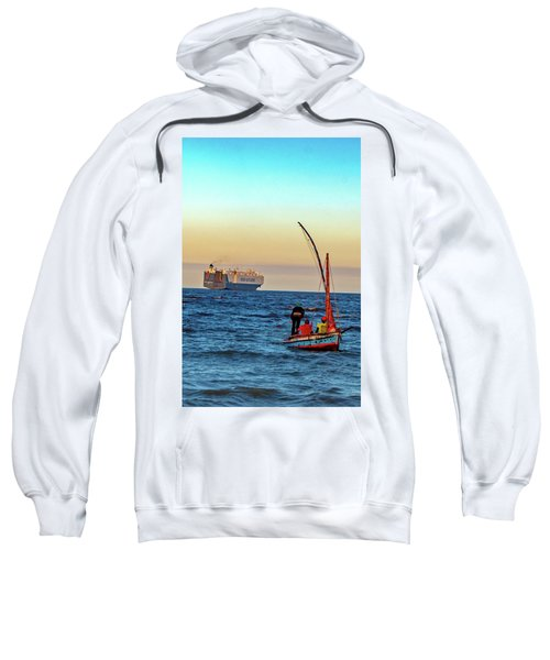 Traditional Fishing And The Container Ship Sweatshirt