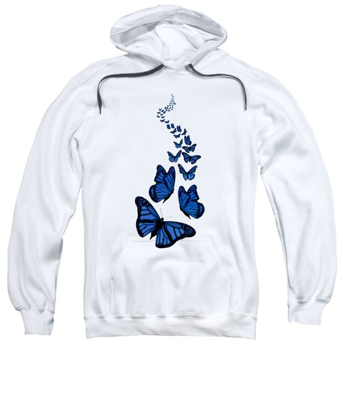 Trail Of The Blue Butterflies Transparent Background Sweatshirt