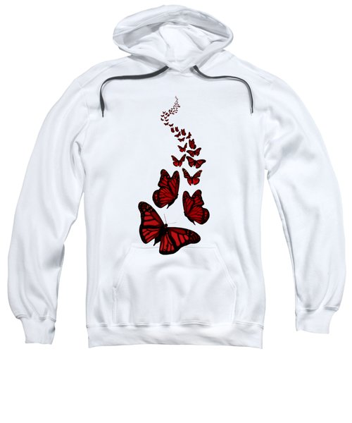 Trail Of The Red Butterflies Transparent Background  Sweatshirt