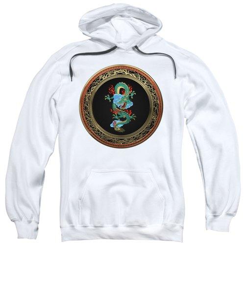Treasure Trove - Turquoise Dragon Over White Leather Sweatshirt by Serge Averbukh