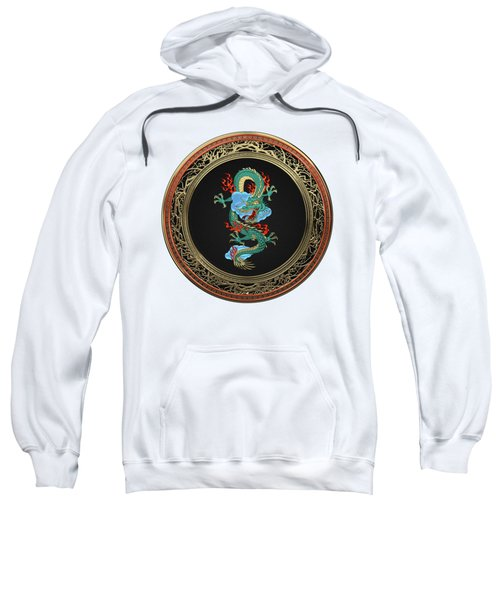 Treasure Trove - Turquoise Dragon Over White Leather Sweatshirt
