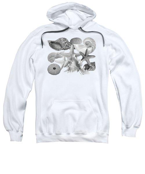 Treasures Of The Deep In Mono On White Sweatshirt