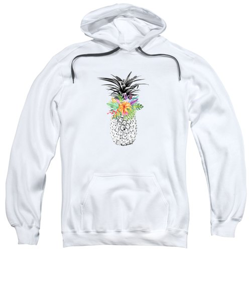 Tropical Flower Pineapple Coral Sweatshirt by Dushi Designs