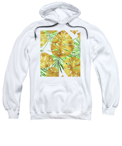 Tropical Haze II Gold Monstera Leaves And Green Palm Fronds Sweatshirt