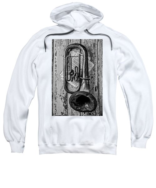 Tuba And Music On Door In Black And White Sweatshirt