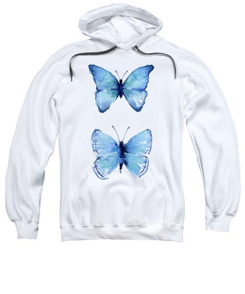 Two Blue Butterflies Watercolor Sweatshirt