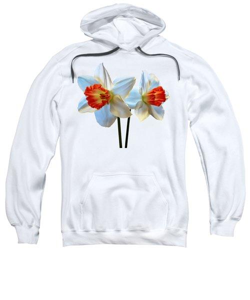 Two White And Orange Daffodils Sweatshirt