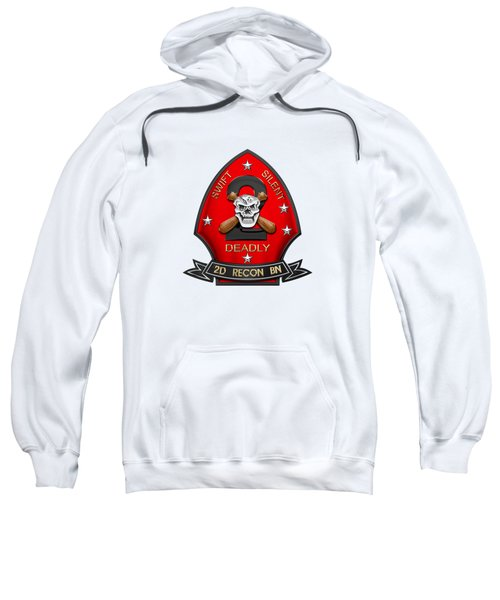 U S M C  2nd Reconnaissance Battalion -  2nd Recon Bn Insignia Over White Leather Sweatshirt