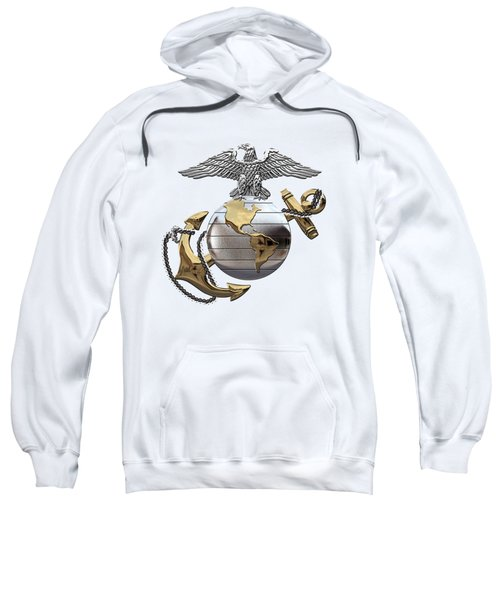 U S M C Eagle Globe And Anchor - C O And Warrant Officer E G A Over White Leather Sweatshirt