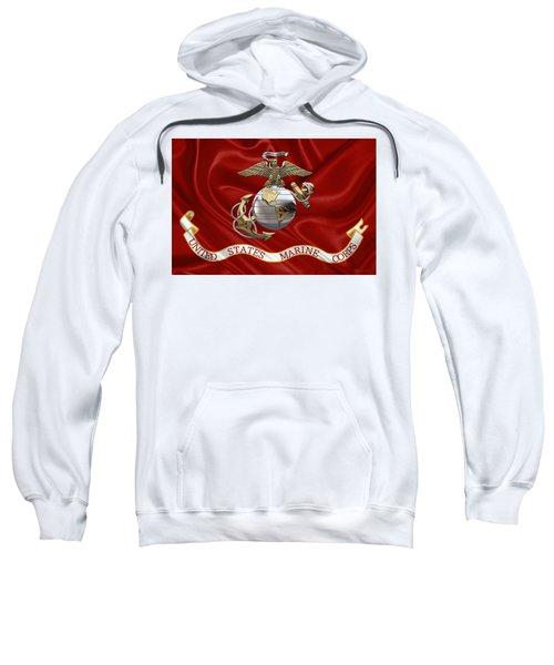 U. S.  Marine Corps - U S M C Eagle Globe And Anchor Over Corps Flag Sweatshirt