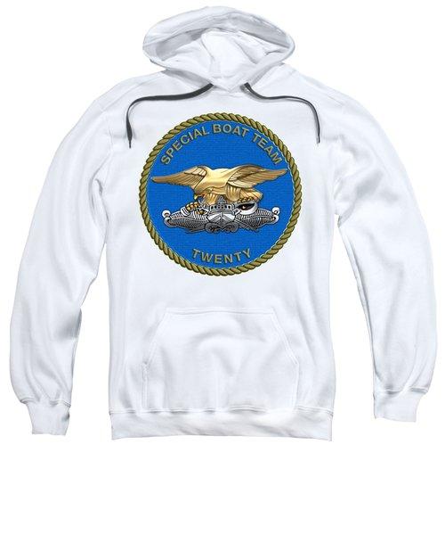 U. S. Navy S W C C - Special Boat Team 20   -  S B T 20   Patch Over White Leather Sweatshirt
