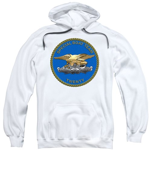 U. S. Navy S W C C - Special Boat Team 20   -  S B T 20   Patch Over White Leather Sweatshirt