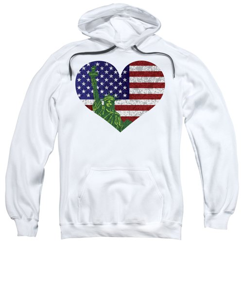 Usa Heart Flag And Statue Of Liberty Sweatshirt by Jit Lim