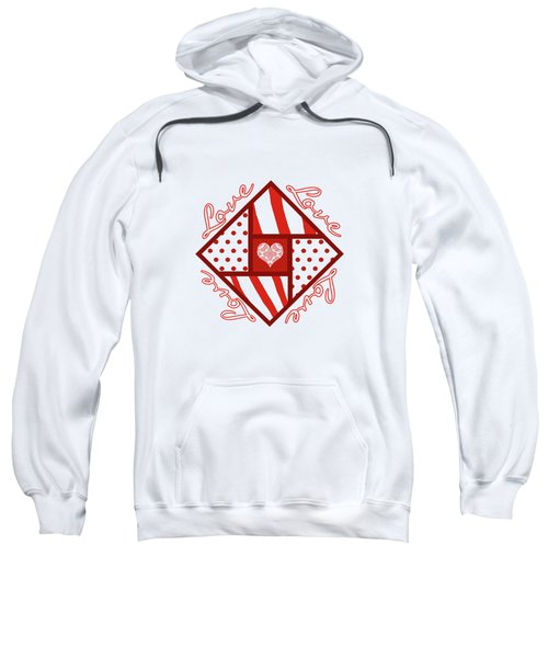 Valentine 4 Square Quilt Block Sweatshirt by Methune Hively