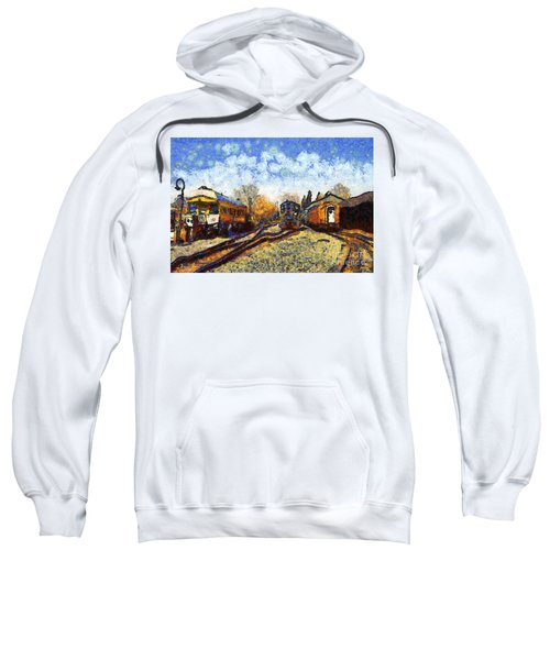 Van Gogh.s Train Station 7d11513 Sweatshirt