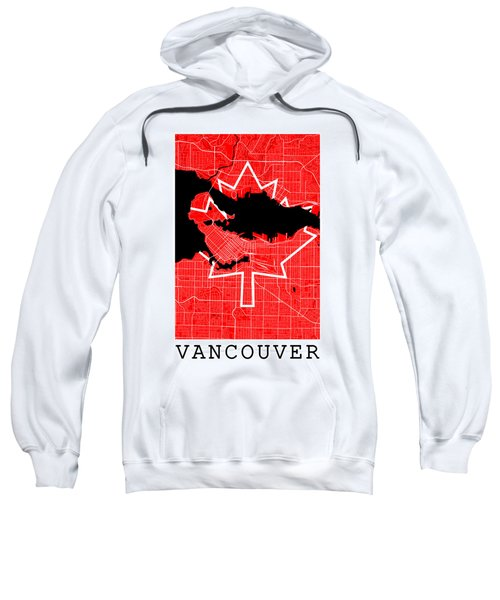 Vancouver Street Map - Vancouver Canada Road Map Art On Canada Flag Symbols Sweatshirt