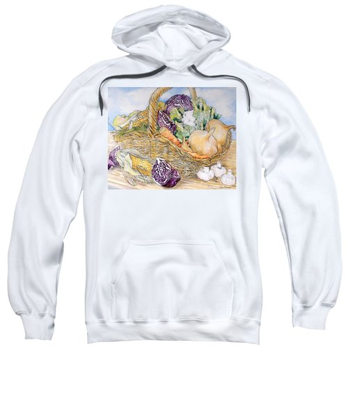 Vegetables In A Basket Sweatshirt by Joan Thewsey