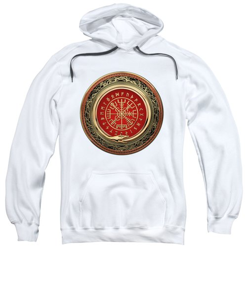 Vegvisir - A Silver Magic Viking Runic Compass On White Leather Sweatshirt