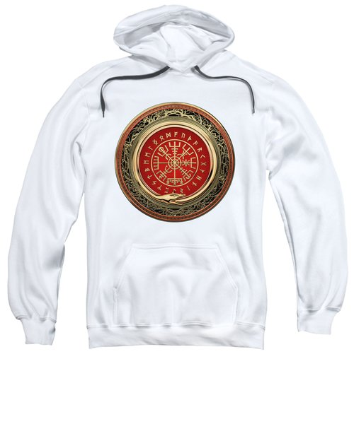 Vegvisir - A Silver Magic Viking Runic Compass On White Leather Sweatshirt