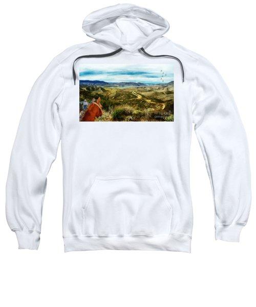 View Of Vail Lake On Horseback Sweatshirt
