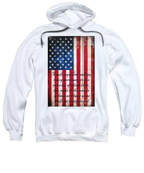 Vintage American Flag And 2nd Amendment On Old Wood Planks Sweatshirt