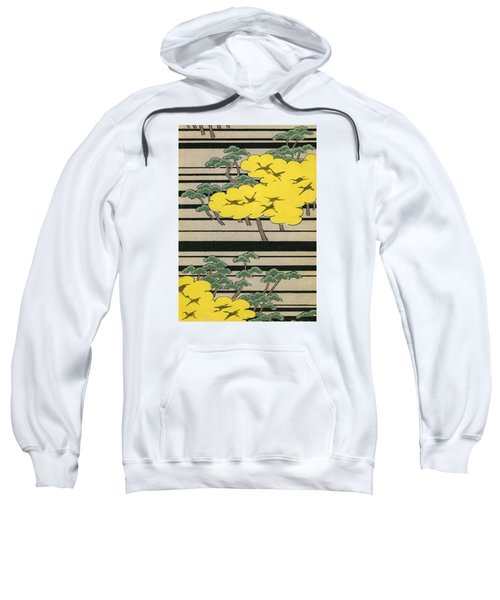 Vintage Japanese Illustration Of An Abstract Forest Landscape With Flying Cranes Sweatshirt