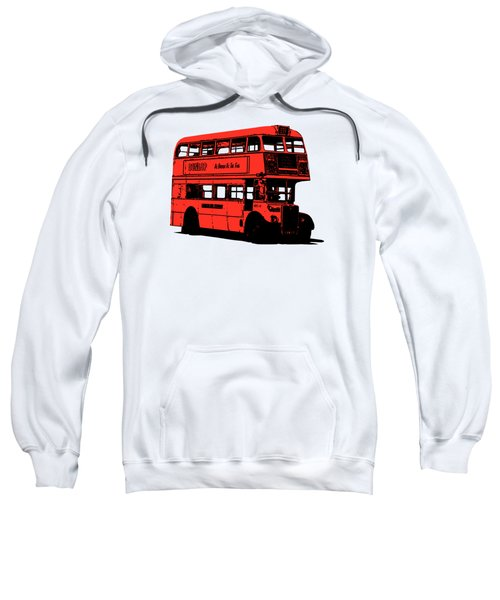 Vintage Red Double Decker London Bus Tee Sweatshirt by Edward Fielding