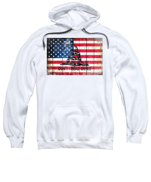 Viper On American Flag On Old Wood Planks Sweatshirt