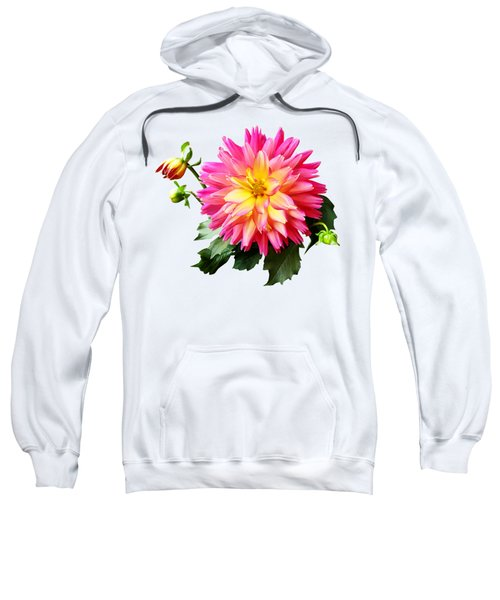 Vivid Pink And Yellow Dahlia Sweatshirt