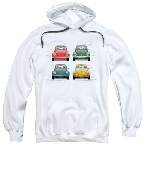 Volkswagen Type 1 - Variety Of Volkswagen Beetle On Vintage Background Sweatshirt
