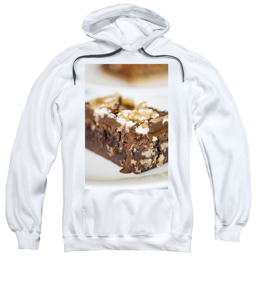 Walnut Brownie On A White Plate Sweatshirt