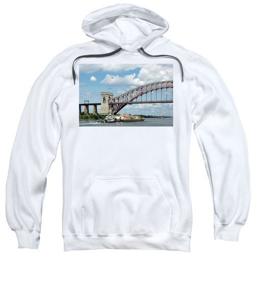 Hell Gate Bridge And Barge Sweatshirt