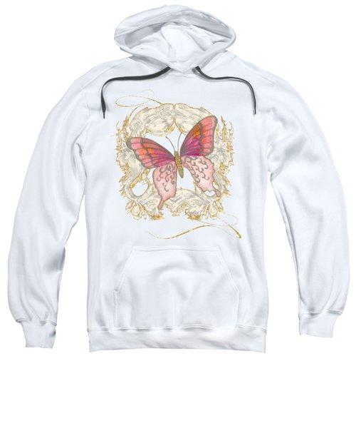 Watercolor Butterfly With Vintage Swirl Scroll Flourishes Sweatshirt