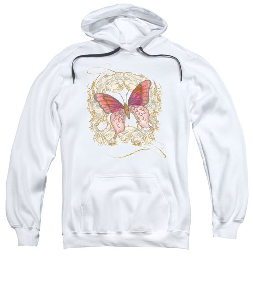 Watercolor Butterfly With Vintage Swirl Scroll Flourishes Sweatshirt