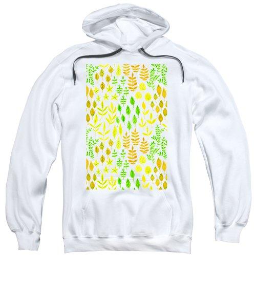 Watercolor Doodle Leaves Pattern White  Sweatshirt