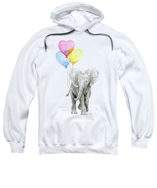Watercolor Elephant With Heart Shaped Balloons Sweatshirt by Olga Shvartsur