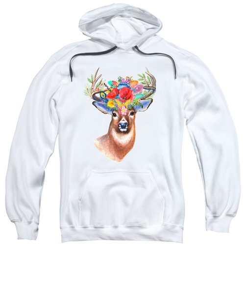 Watercolor Fairytale Stag With Crown Of Flowers Sweatshirt