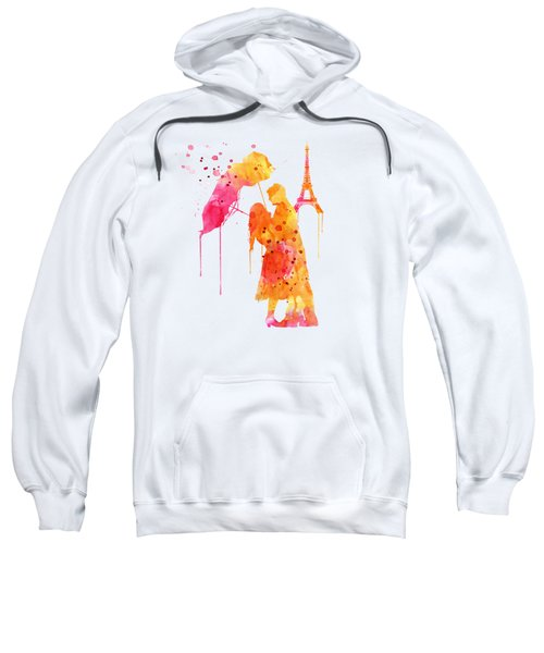 Watercolor Love Couple In Paris Sweatshirt