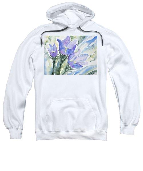 Watercolor - Pasque Flowers Sweatshirt