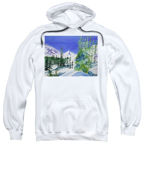 Watercolor - Sunny Winter Day In The Mountains Sweatshirt